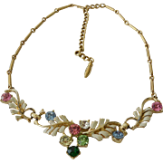 Rhinestone And Enamel Lavaliere  Necklace