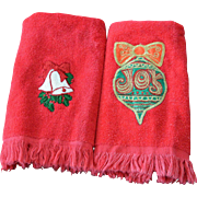 Two Terry Christmas Decorations Hand Towels