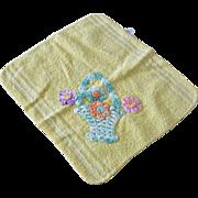 Flowers Basket Appliqué Terry Face Cloth