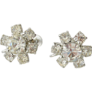 Rhinestone Florets Screw Back Earrings