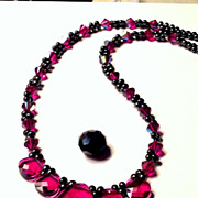 Fuchsia Swarovski Briolette drop crystal Necklace