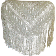 SOLD Lovely Old Spanish Silk Ribbon Lace Shawl with Long Fringe