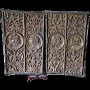 SOLD Pair Antique Victorian Architectural Repousse Brass Plaques
