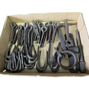 SOLD 45 Pcs of 19thC Primitive Hand Forged Hardware, Hooks, Staples