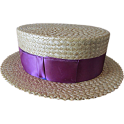 SOLD c1920s Men's Straw Boater Hat in Great Condition