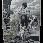 19thC Victorian Silk Tapestry, Wedding Couple & Cherub Angels