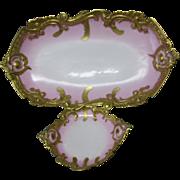 Lovely c1880s French Limoges Gilt Platter & Serving Dish