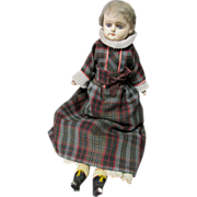 Very Early Wax or Composition Doll, Blue Glass Eyes