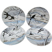 4 Asian Nippon Hand Painted Porcelain Plates with Crows