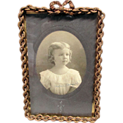 Antique Victorian Endless Chain Picture Frame with Bow