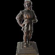 Grand Tour Era Bronze Knight Cabinet Sculpture