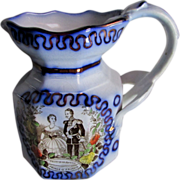 c1858 Flow Blue Pitcher King of Prussia Princess Royal
