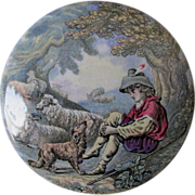 Antique Staffordshire Prattware Pot Lid Box Boy, Dog & Sheep