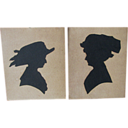 SOLD Pair Antique Victorian Edwardian Cut Paper Silhouettes