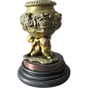 19thC Bronze Match Safe Candlestick w/ Cherubs, Bacchus