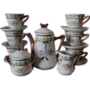 SOLD c1880s Child's Tea Set, Hand Painted Porcelain, Copper Luster