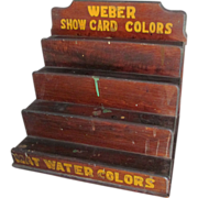 Antique Weber Paint Tiered Wood Display Shelf