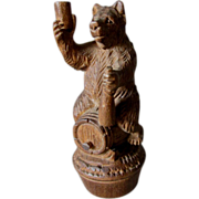 SALE PENDING Black Forest Hand Carved Bear on Keg, Bottle Stopper