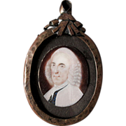 SOLD 18thC Miniature Portrait Man in Powdered Wig, Barker Collection