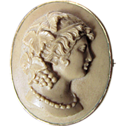 Hand Carved Italian Lava Cameo Brooch of a Lovely Lady
