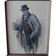 Magazine Illustration, Man with Pocket Watch Listed Artist Yohn
