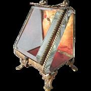 19thC Victorian Beveled Glass Pocket Watch Holder, Jewelry Box