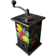 Antique Coffee Grinder, Lovely Folk Art, Tole Paint, Toleware
