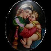 German Porcelain Plaque After Madonna della Seggiola by Raphael