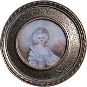 Lovely Vintage Miniature Painting of French Lady in Powdered Wig