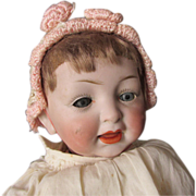 Pretty Antique Bisque Doll with Blue Glass Sleep Eyes, Composition Body