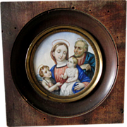 Lovely Antique Miniature Portrait Madonna, Joseph, Jesus & a Child