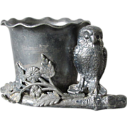 Rare Antique Victorian Silverplate Owl Toothpick or Match Safe