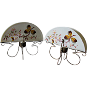 Pair Victorian Enamel Bristol Glass Letter Holders, Vanity Accessory