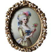 Antique Miniature Victorian Porcelain Plaque of French Lady