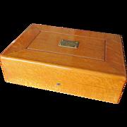 c1896 Golden Oak Silverware Chest with Presentation Plaque