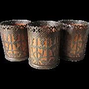 Set of 3 Antique German Arts & Crafts Metal Lamp Shades