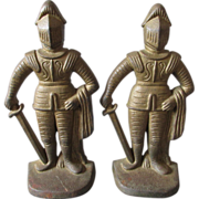 c1920s Figural Knights in Armor Cast Iron Bookends