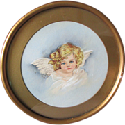 Charming c1900 Victorian Folk Art Watercolor of an Angel