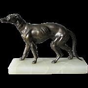 c1920-30s Art Deco Greyhound Dog Sculpture, Alabaster Base
