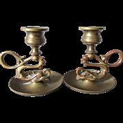 Pair Antique Bronze Figural Dolphin Candlesticks, Chambersticks