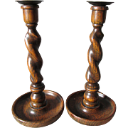 SOLD Pair Lovely Antique Oak, Barley Twist Candlesticks