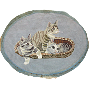 SOLD Vintage c1940s Needlepoint of 3 Cats or Kittens in Basket