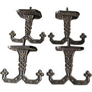 Set of 4 Circa 1880s Victorian Aesthetic Cast Iron Double Ceiling Hooks