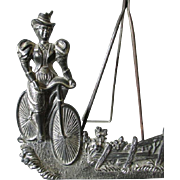 SALE PENDING Whimsical c1896 Lady on Bicycle, Picture Frame or Mirror