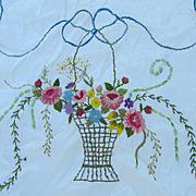SOLD Elegant c1930s Art Deco White Satin Bedspread Set Chenille Embroidery