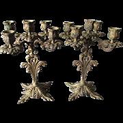 Antique Victorian Brass Candelabra, Elegant Candlesticks