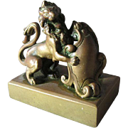 Antique Bronze Lion with Shield Paperweight, Miniature Sculpture