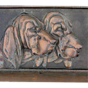 SOLD Big Antique Architectural Plaque of 3 Hound Dogs, Bloodhounds