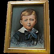 SOLD Charming c1880 Folk Art Oil Painting, Portrait of Little Boy