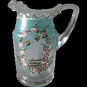 SOLD Victorian Lemonade or Water Pitcher Enamel Roses & Butterflies
